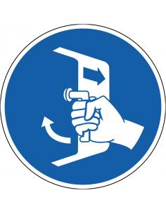 pictogram luiken sluiten en beveiligen, blauw wit, rond, ISO 7010, M037