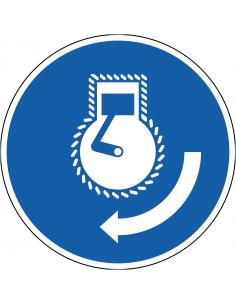 pictogram motor starten, blauw wit, rond, ISO 7010, M038