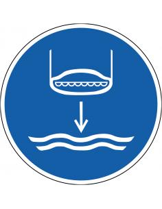 pictogram reddingsboot te water laten, blauw wit, rond, ISO 7010, M039