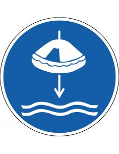 pictogram reddingsvlot te water laten, blauw wit, rond, ISO 7010, M040
