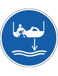pictogram hulpboot te water laten, blauw wit, rond, ISO 7010, M041