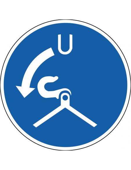 pictogram haken lossen verplicht, blauw wit, rond, ISO 7010, M042