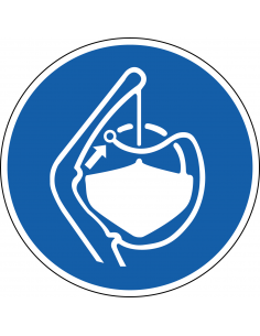 pictogram bevestigingskoorden lossen, blauw wit, rond, ISO 7010, M045