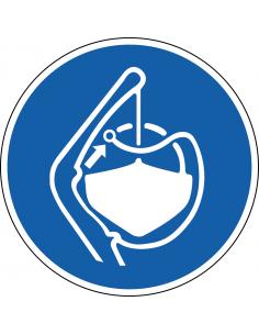 pictogram bevestigingskoorden lossen verplicht, blauw wit, rond, ISO 7010, M045