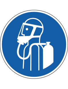 pictogram autonoom ademhalingstoestel, blauw wit, rond, ISO 7010, M047