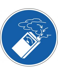pictogram gasdetector verplicht, blauw wit, rond, ISO 7010, M048