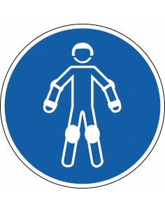 pictogram beschermende rollersportuitrusting, blauw wit, rond, ISO 7010, M049