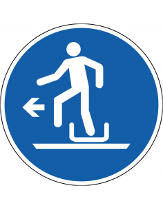 pictogram links uit slee stappen, blauw wit, rond, ISO 7010, M050