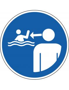 pictogram kinderen in water onder toezicht, blauw wit, rond, ISO 7010, M054