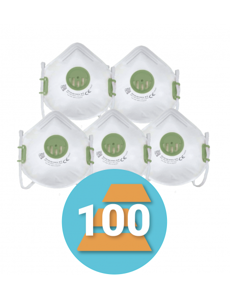 100-pack FFP3 Herbruikbaar stofmasker met ventiel X310 SV, R D
