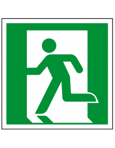 Nooduitgang sticker links, ISO 7010, E001, groen wit, symbool nooduitgang links, vierkant