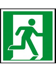 Nooduitgang rechts sticker, ISO 7010, E002, groen wit, symbool nooduitgang rechts, vierkant