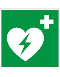 AED sticker, 100 x 100 mm, groen wit, vierkant, iso 7010, e010