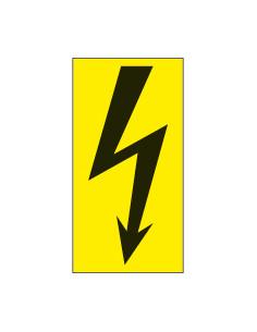 Sticker elektrische spanning, 50 x 100 mm geel zwart
