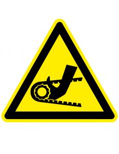 Waarschuwingssticker hand tussen ketting, geel zwart, hand tussen ketting symbool, driehoek