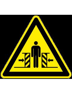 Waarschuwingsbord klemgevaar, W019, geel zwart, ISO 7010, beknelling tussen machine, driehoek