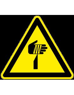 Waarschuwingsbord scherpe punten, W022, geel zwart, ISO 7010, scherpe punt symbool, driehoek