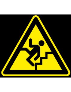 Waarschuwingsbord pas op trap, kunststof, man valt van trap, geel zwart, driehoek