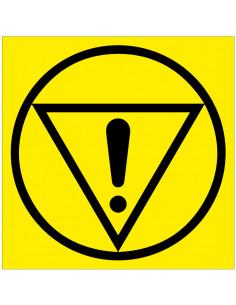 Waarschuwingssticker emergency stop, geel zwart, driehoek, rondje, uitroepteken