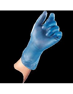 Vinyl wegwerphandschoen 100 stuks SensaNyl P, gepoederd, blauw, hand voorbeeld