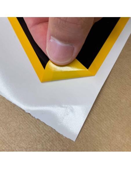 Tekststicker waarschuwing scherpe punten, W022 materiaal