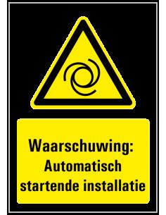 Waarschuwing voor automatisch startende machine sticker met tekst, geel zwart wit, rechthoek, ISO 7010, W018 pictogram