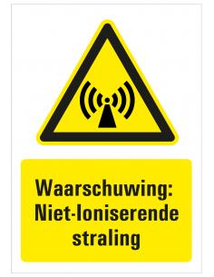 Sticker met tekst waarschuwing niet ioniserende straling, W005, ISO 7010, geel zwart, rechthoek, niet ioniserend symbool