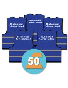50-pack veiligheidshesje 'Houd minimaal 1,5 meter afstand!' blauw