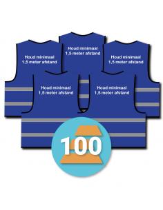 100-pack veiligheidshesje 'Houd minimaal 1,5 meter afstand!' blauw
