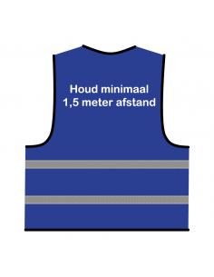 Veiligheidshesje 'Houd minimaal 1,5 meter afstand!' blauw