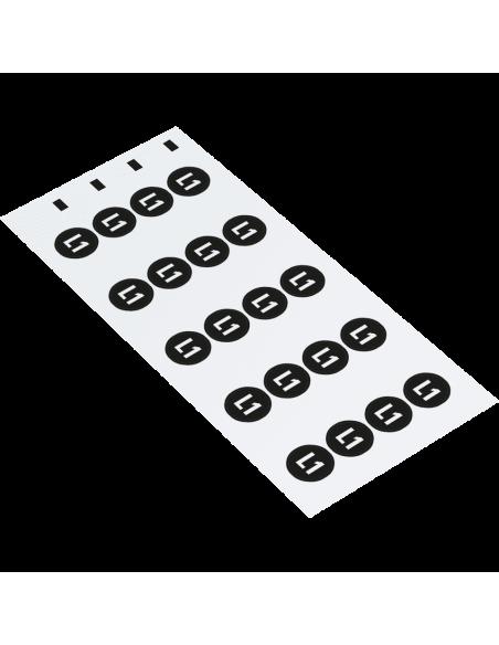 Fase L1 geleider sticker, vel, zwart wit kaart van 20 stickers