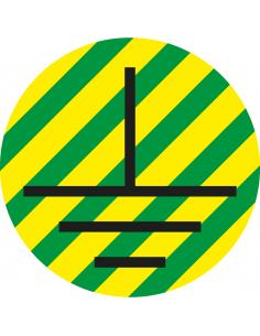 Beschermende aarde geleider sticker, vel, groen geel