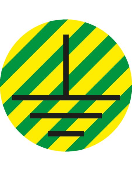 Beschermende aarde geleider sticker, groen geel