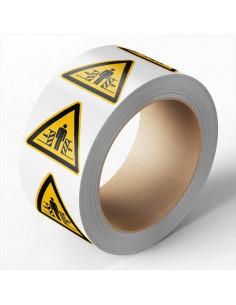 Klemgevaar sticker, 100 per rol, 100 mm, W019, driehoek, geel zwart, ISO 7010, persoon klem