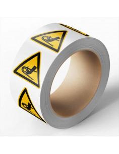 Hand tussen ketting sticker, 100 per rol, 100 mm, geel zwart, driehoek, ISO 7010, hand tussen ketting