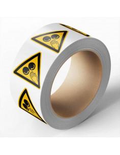 Hand tussen draaiende rollen sticker, 500 per rol, 50 mm, driehoek sticker, geel zwart