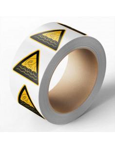 Hete vloeistoffen sticker, 100 per rol, 100 mm, driehoek, geel zwart, hand met hete vloeistoffen