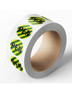 Beschermende PEN geleider sticker op rol, groen geel