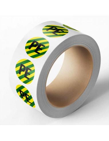 Beschermende PE geleider sticker op rol, groen geel