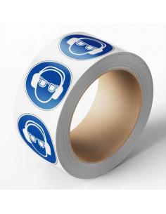 Oog en gehoorbescherming verplicht sticker, 500 per rol, 50 mm, ISO 7010