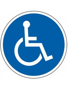 pictogram rolstoel, blauw wit, rond