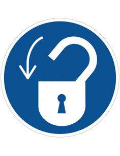 pictogram slot openen, blauw wit, rond