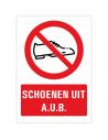Schoenen uit aub tekstbord, rechthoek, schoenen symbool, rood wit, Nederlandse tekst