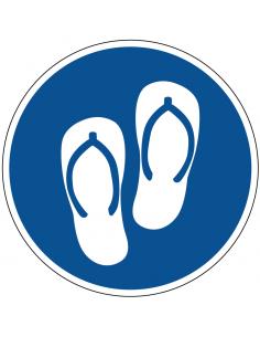 pictogram slippers verplicht, blauw wit, rond