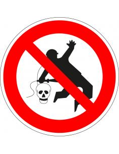 Niet met perslucht reinigen sticker, rood wit, pictogram verboden te reinigen met perslucht, rond