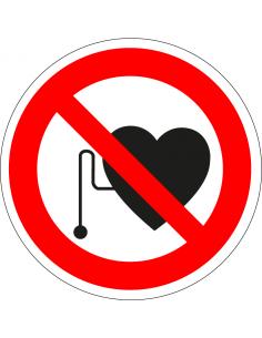 Pacemakers verboden sticker, rood wit, pictogram verboden voor pacemakers, rond