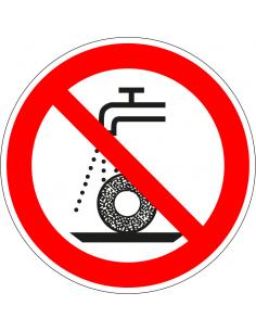 pictogram verboden nat te slijpen, rood wit, rond, ISO 7010, P033