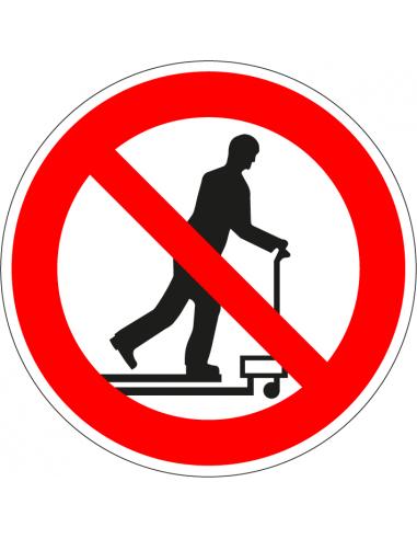 Niet met palletwagen rijden sticker, rood wit, pictogram niet met palletwagen rijden, rond