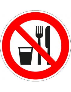 Verboden eten en drinken sticker, rood wit, pictogram eten en drinken verboden, rond