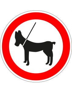 pictogram honden aan de lijn, rood wit, rond